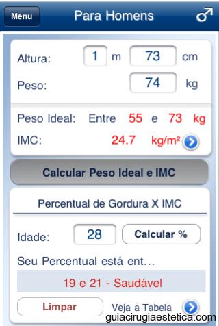 iPad con pantalla de Peso Ideal - App Médica