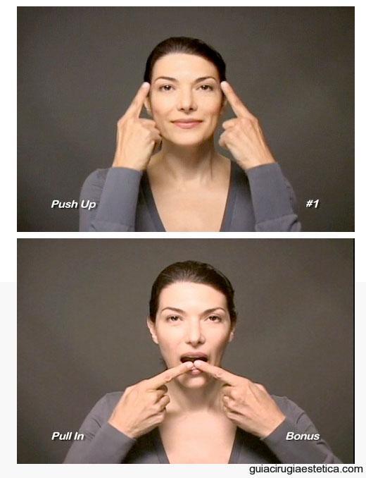 Mujer realizando ejercicios faciales