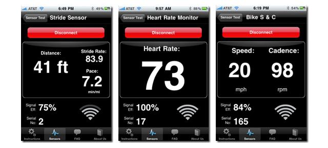 Pantallas de medición de Pasos, Ritmo cardíaco y Cadencia de Pedaleo.