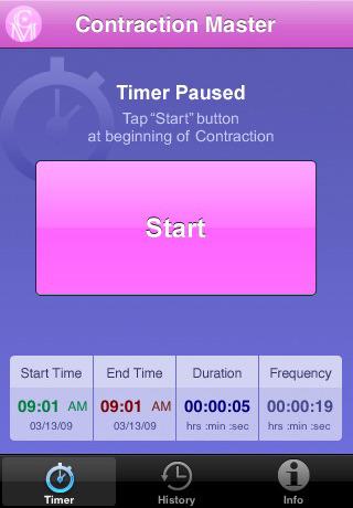Contraction Master es una aplicación médica para iPhone que hace seguimiento y comunica a su médico el progreso de las contracciones en el parto.