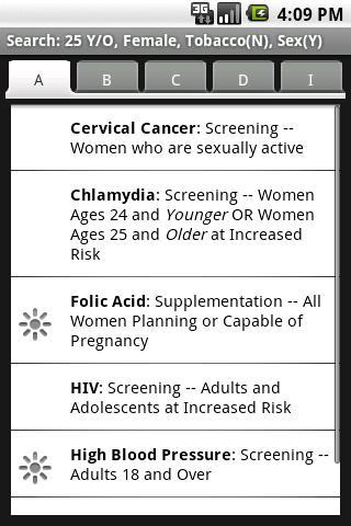 Resultados en la Aplicacion médica Android AHRQ ePSS