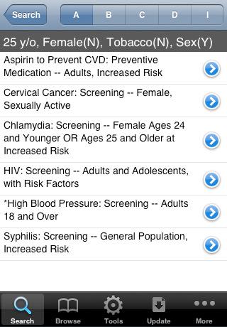 Resultados en la Aplicacion médica iPhone AHRQ ePSS