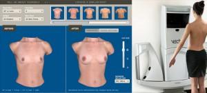 Simulador Online de aumento de pecho con diferentes opciones de configuración y aspecto de la tecnología complementaria VECTRA