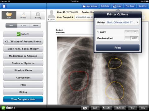 Imagen de Drchrono EHR en una pantalla iPad