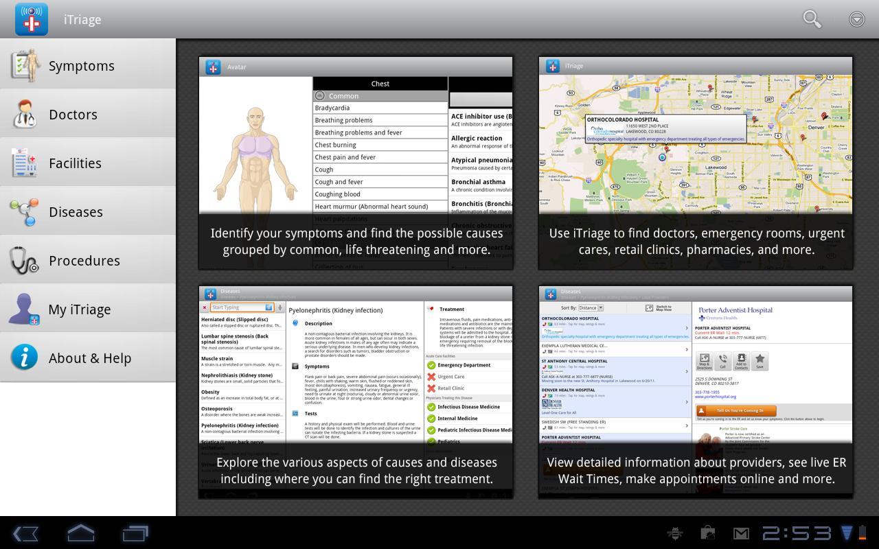 Imagen resumen de las características principales de iTriage incluyendo las funciones de geolocalización (Versión tabletas).