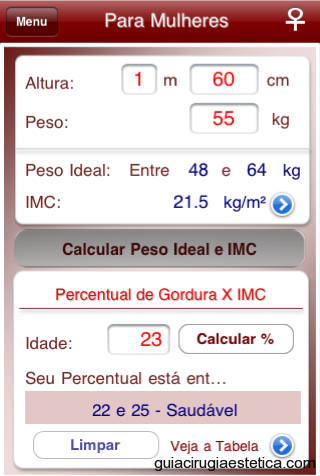 iPhone con pantalla de Peso Ideal - App Médica