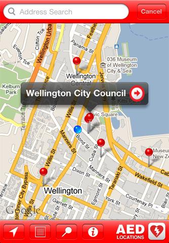 Interfaz iPhone de AED Locations